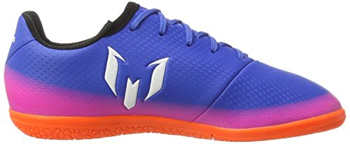 adidas Messi 16.3 In J, Chaussures de Football Mixte Enfant Bleu (Blue/footwear White/solar Orange)