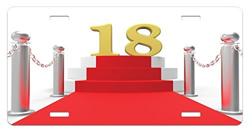 ZTLKFL 18th Birthday License Plate by, Hollywood Greeting for a 18 Year Old Star Party Red Carpet Image, High Gloss Aluminum Novelty Plate, 5.88 L X 11.88 W Inches, Red Silver and White - Square Bath Lighting