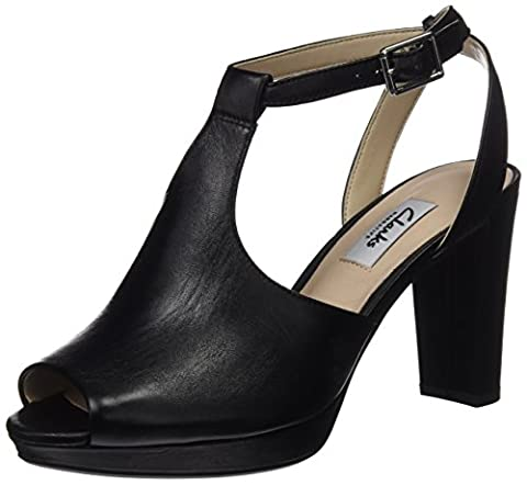Clarks Kendra Charm, Women's Ankle Strap Pumps, Black (Black Leather),