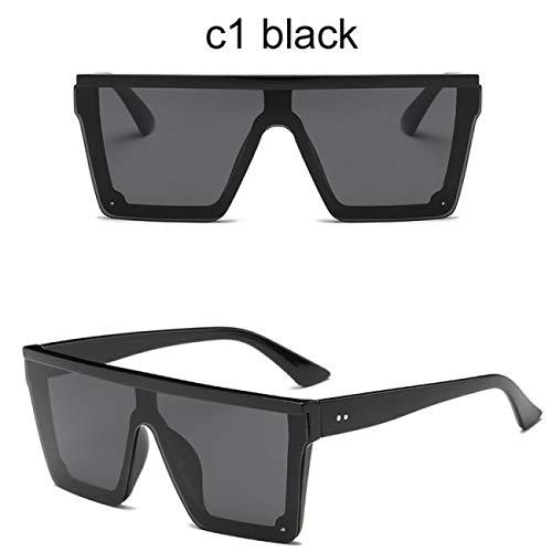 DEFG&FAD Sonnenbrille für Frauen Oversize Square Mirror Shades Unisex Trendy Big Black Flat Top Goggles, 1schwarz