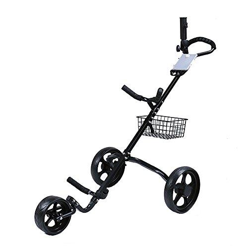 EVERAIE Golf Push Cart, Hohe Qualität Faltbare 3 Räder Golf Bag Trolley Push & PullGolf Warenkorb Mit Bremse Und Scorecard -