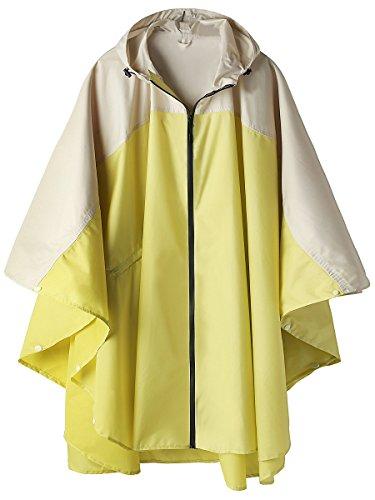 Wasserdichte Regen Poncho Jacke Mantel mit Kapuze Colorblock (Cremy-weiß und Gelb)