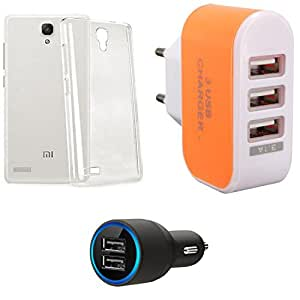 NIROSHA Cover Case Car Charger Charger for Xiaomi Redmi Note - Combo
