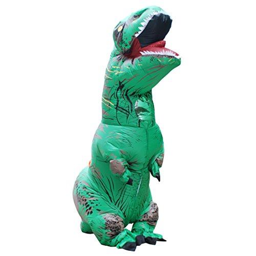 (DUBAOBAO Aufblasbares Dinosaurierkostüm Halloween-Ereignis Der Kleidung, Aufblasbares Dinosaurierkostüm Halloweens, Aufblasbares Tyrannosauruskostüm - Grün,Adult)