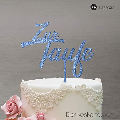 Dankeskarte.com Cake Topper Zur Taufe Zweizeilig - für die Tauftorte - Blau-Glitzer - XL