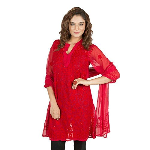 nAzAqAt Lucknow Georgette Kurti with matching stole. Kurta base color Red with...