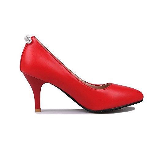 VogueZone009 Femme Couleur Unie Pu Cuir à Talon Haut Pointu Tire Chaussures Légeres Rouge