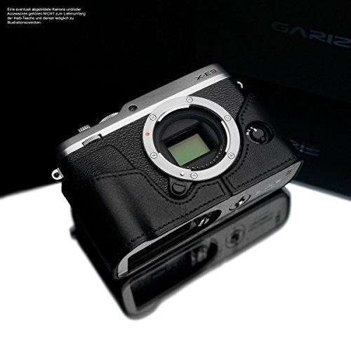 Kameratasche für Fujifilm X-E3 Kamera | Handgefertigte Fototasche aus italienischem Leder | Tasche für Fuji X-E3 | Farbe Systemkamera Tasche: Schwarz | Farbe Ledertasche Naht: Black | Gariz Design
