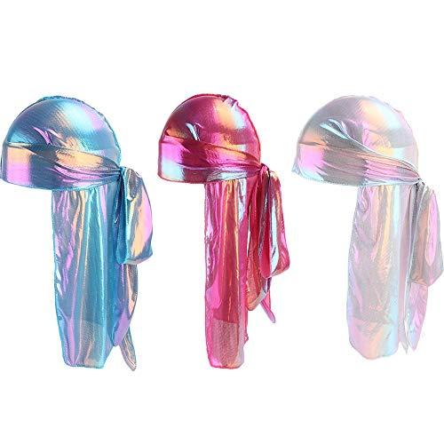 Muslim Laser Hologramm Silky Long Tail Pirate Hat Durag Bandana Hat Men/Women Headwrap Headwear