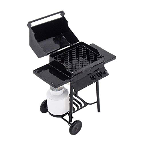 Odoria 1/12 Miniatur Groß BBQ Grillwagen mit Gas Behälter Für Puppenhaus Küche Zubehör