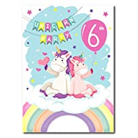 12 x Unicorn Rainbow Balloon 6th Birthday Party Invitations - Includes Stickers & Pink Envelopes (6th Birthday)