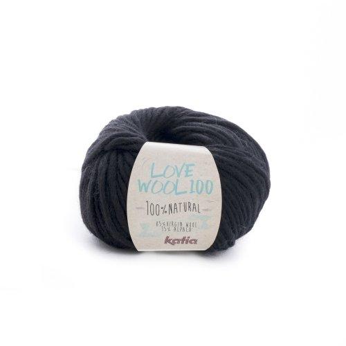 Katia love wool 100, colore nero (207), lana con alpaca per lavoro a maglia e uncinetto per ferri di spessore 7 - 9 mm, 100 grammi circa 100 metri di lana alpaca