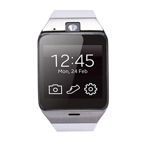 GV 18 bluetooth intelligente orologio, FEITONG orologio da polso GSM NFC fotocamera TF carta per samsung (bianca)