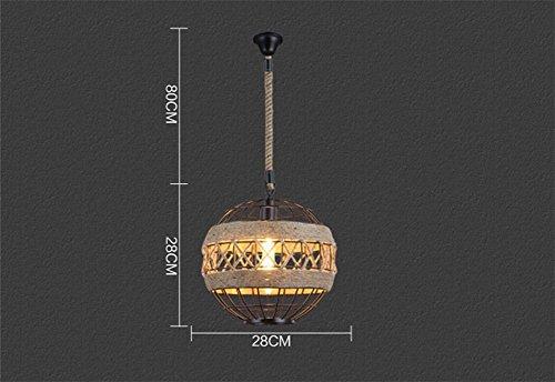 XF Lighting Retro Loft Industrial Style Lüster Hängelampe Leuchter American Creative Wohnzimmer Eisen Globe Hanfseil Pendelleuchte,Small American Leuchter
