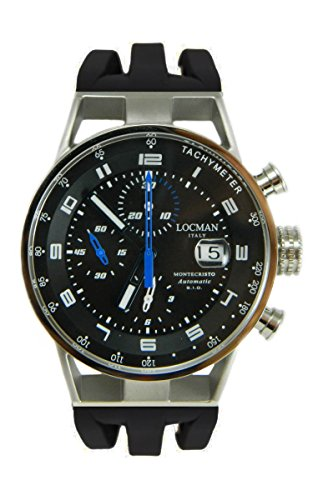 Locman Montecristo Automatic/orologio uomo/quadrante nero/cassa acciaio e titanio/cinturino silicone nero/ref. 0516A01S-00BKBLSK