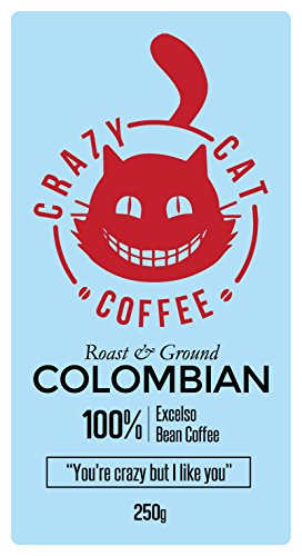 Crazy Cat Ground Coffee, Non Bitter, Medium Strength, Colombian Arabica Coffee, Full Fresh Flavour, Roasted and Ground to Perfection 250g