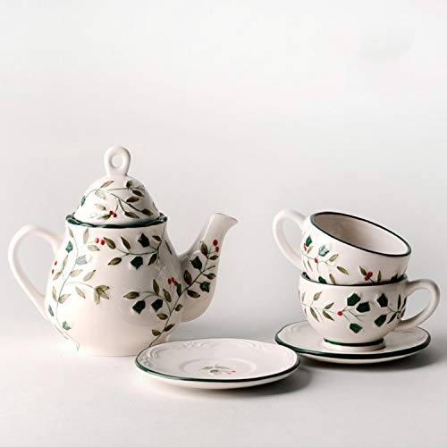 XCXDX Holly Berry Keramik-Tee-Set Geprägt Handbemalte Blumen Tee Geschenk Teekanne Kaffeetasse...