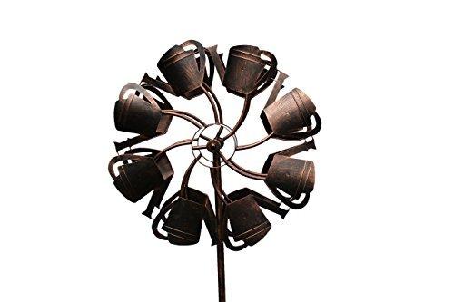 Fancy Gärten Gießkanne Wind Spinner | Langlebig Stahl Design & stabil Gabel Boden | Dekorative Kinetic Windmühle für Rasen, Hof & mehr | handbemalt Multicolor whirligigs | Pinwheel Décor Fancy Gabeln