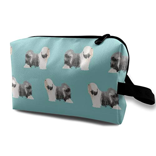 Tibet Terrier Hunderasse Stoff Stehen Blue_421 Tragbare Reise Make-Up Kosmetiktaschen Organizer Multifunktions Fall Taschen für Frauen -