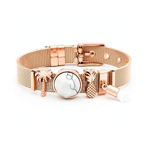 THIORA® - Mesh Armband Damen | Individuelle Anhänger Charms | Edelstahl | Charmband Set Frauen | Silber Rosegold Gold Bracelet (Marbleous - Rosegold)