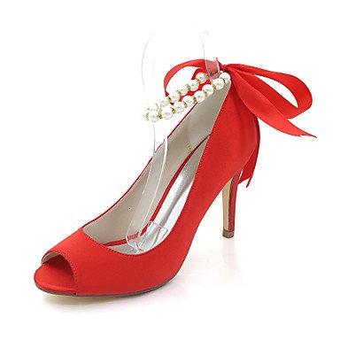 Wuyulunbi @ Chaussures Femme Satin Spring Summer Pompe Chaussures De Base Mariage Talon Aiguille Peep Toe Imitation Perle Pour La Réception De Mariage Et Le Soir. Rouge