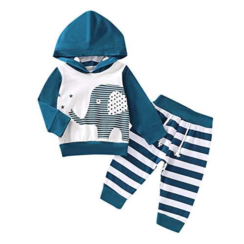 LEXUPE Mädchen Kleider Langarm Baumwolle Kinder Kleid Süßes Muster Gr.86-128(Blau,80)