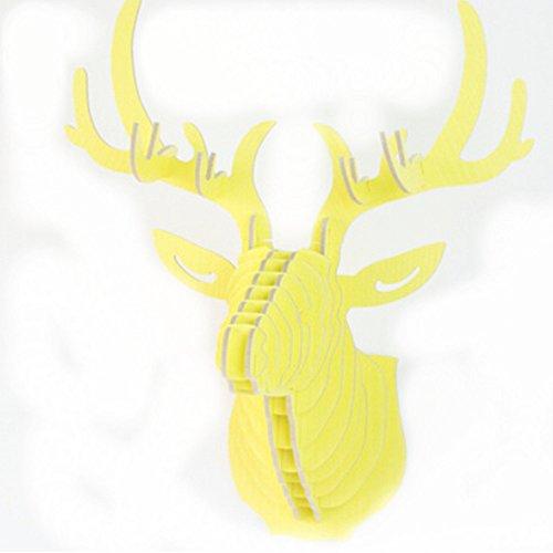 Homyl 3D Modelo Ciervo Animal Escultura de Cabeza de Fauna Colgante de Pared Madera Decoración de Hogar Adornos de Oficina - 4
