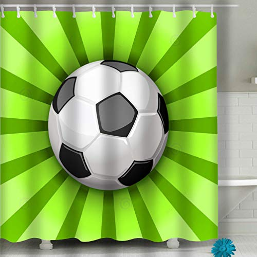 72in Fan (Zongxiahuoguo Shower Curtain Football Soccer Players Cheerleaders Fans Set Isolated Human Figures Merch Marks Favourite Team Illustration Football 60 x 72 Inches)
