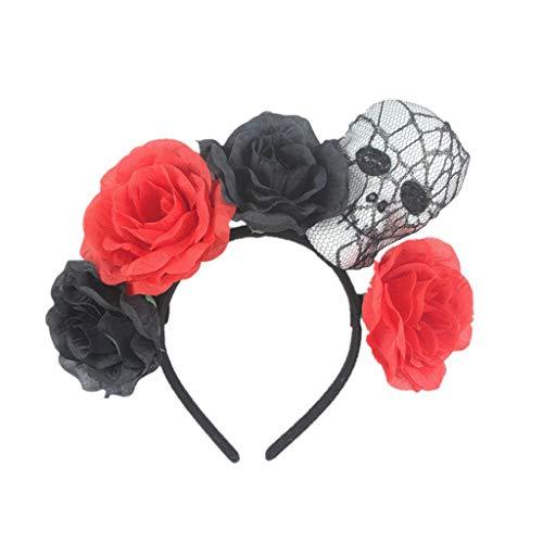Muslimischen Bilder Kostüm - ruiruiNIE Erwachsene Kinder Halloween Breite Haarband Künstliche Rose Blume Schädel Skeleton Kopf LED Leuchten Stirnband Cosplay Party Kostüm - Rot + Schwarz