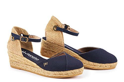 VISCATA Pubol Ankle-Strap, Closed Toe, Classic Espadrilles with 2-inch Heel Made in Spain Bleu Marine