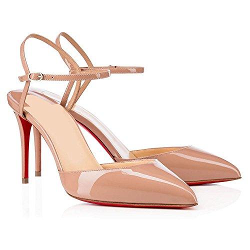 WSS chaussures à talon haut Chaussures femme rivet pochoir extra fin avec des chaussures talons pointus nude color