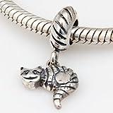 Unusual Cat Dangle - Sterling Silver Charm Bead - fits Pandora, Chamilia etc style Bracelets - SpangleBead