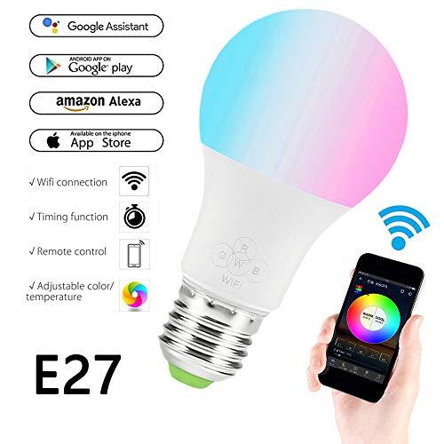 MENGZHEN 1PC Smart Home Lampe WLAN Glühbirne dimmbare WLAN Glühbirne steuerbar via APP mit Amazon Alexa Google Assistant