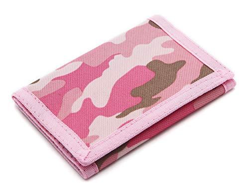 RFID Slim Camouflage Geldbörse/Trifold Canvas Outdoor Sport Wallet für Kinder Pink Rose S