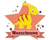 plot4u Süßer Dino Aufkleber mit Namen Autoaufkleber Namensaufkleber Kinder in 7 Größen (20x17,5cm Mehrfarbig)