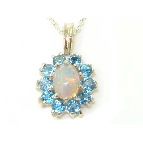 Luxus 925 Sterlingsilber Damen Anhänger (Marquise) – Echt Opal & Blau Topas - Ideal für Weihnachten, Geburtstag, Jubiläum oder Muttertag Geschenk (Opal Und Blauer Topas)