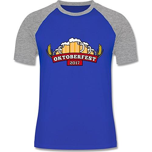 Oktoberfest Herren - Oktoberfest 2017 Krüge - zweifarbiges Baseballshirt für Männer Royalblau/Grau meliert