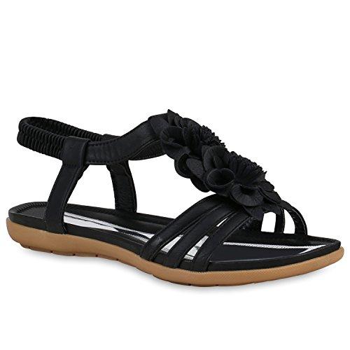 Stiefelparadies Damen Schuhe Riemchensandalen Metallic Sandalen Blumen Flats Leder-Optik 158701 Schwarz 38 Flandell