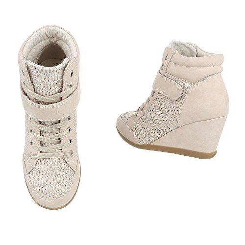 Ital-Design Sneakers High Damenschuhe Sneakers High Keilabsatz/Wedge Sneakers Schnürsenkel Freizeitschuhe Beige 876-Y