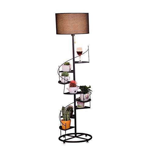 Regal Stehen (Stehlampe Kreative Einfache Stehlampe Mit Regal Und Blume Stehen Vertikale Lampe Geeignet Für Schlafzimmer Studie Wohnzimmer Studie Dekoration Leuchte Lampe (Color : Schwarz))