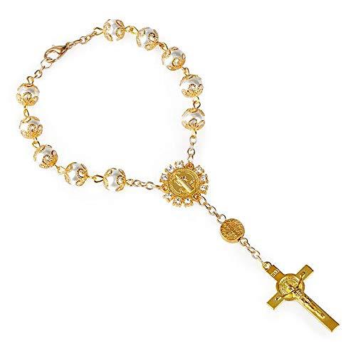 ANLW Rosenkranz Armband Gold Und Silber Spitze Glasimitat Perle Kreuz Anhänger Christus Jesus Jungfrau Maria Religiöse Frau,Gold