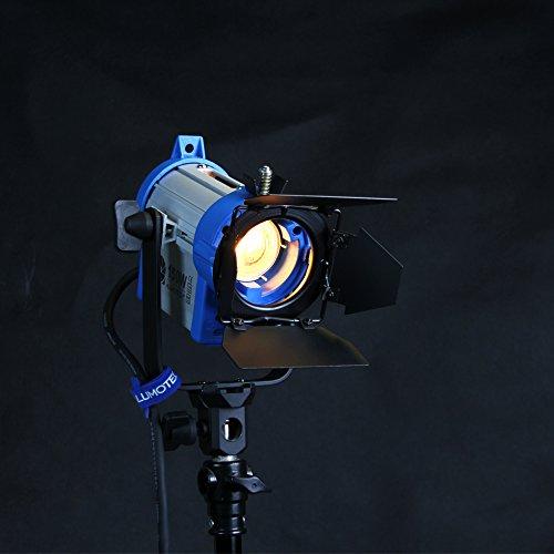 Alumotech 150 vatios Fresnel Tungsteno Foco Lámpara Atenuador Incorporado Cable Atenuación Studio Video Luz para la cámara de Iluminación Compatible + Globos + Barndoor