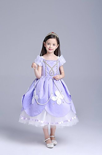 Girl 's Mädchen Prinzessin Sofia Pearl Kleid Kostüm Halloween Kleidung Karneval Cosplay–NEUE VERSION