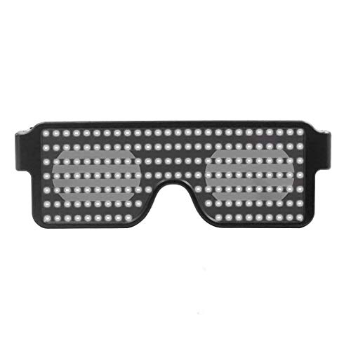 starnearby Neon Blinkende LED Leuchten Shades Brille Glowing Party Supplies Beleuchtung Helle Licht Rave Night Festival Party Sonnenbrille Dekoration (Weiß)