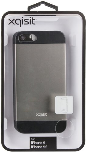 Xqisit iPlate Matt Case Cover Schutzhülle für Apple iPhone 5/5S/SE Grau / Schwarz
