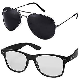 Silver Kartz UV Protected Men's Sunglasses(cm108 55mm Black) - Combo Pack