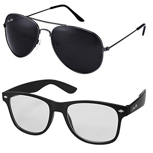 Silver Kartz UV Protected Men\'s Sunglasses(cm108 55mm Black) - Combo Pack