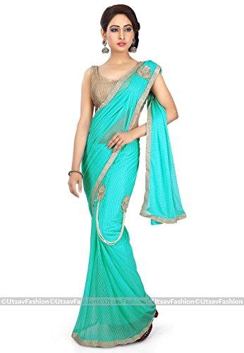Utsav Fashion Women's Pre Stitched Lycra Saree in Turquoise