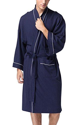 Baumwolle Lange Ärmel Robe (Dolamen Unisex Damen Herren Morgenmantel Bademäntel, Weich u. Leicht Baumwolle Waffelpique Nachtwäsche Nachthemd Robe Negligee locker Schlafanzug, für Spa Hotel Sauna (Medium, Dunkelblau))
