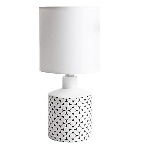 Lampe de chevet GISELE céramique motif rond noir 29x14cm